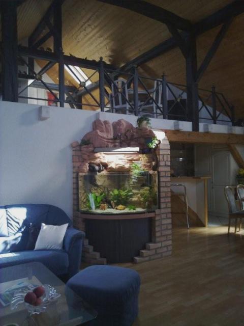 Trigon-förmiges Pool-Aquarium in eine Landschaft gebaut