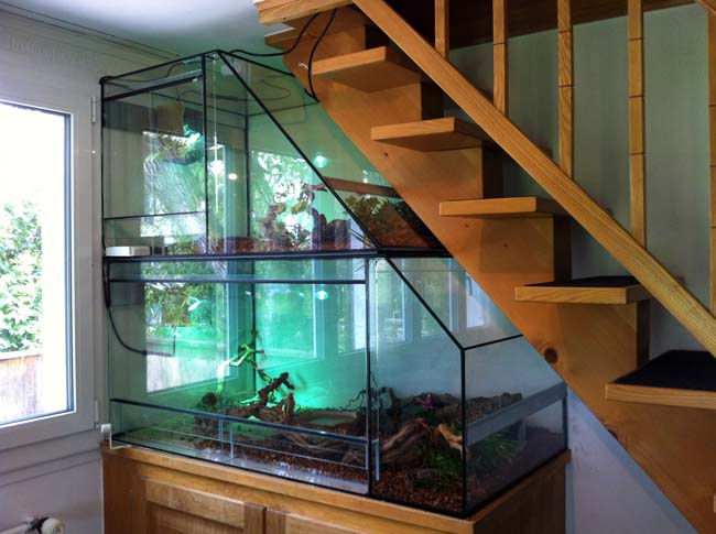 Das Doppelterrarium unter der Treppe eingepasst